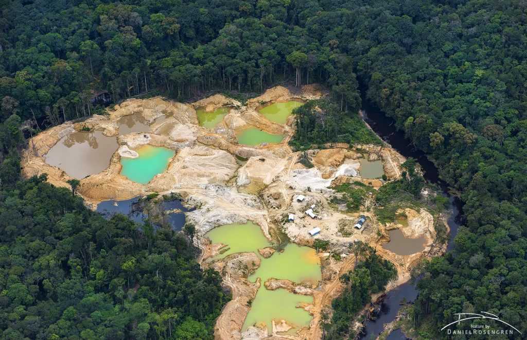 Illegal gold mining inside Kaieteur NP. Aerial photo from a plane. Guyana. © Daniel Rosengren